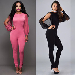 Wholesale Womens Clubwear Jumpsuits - 2016 Womens Sexy Fashion Jumpsuit Romper Ladies Sexy Backless Hollow Out Patchwork Evening Jumpsuits gauze Clubwear Playsuit