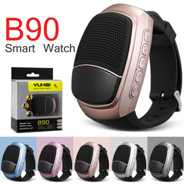 Wholesale Free Email Packages - B90 Smart Watch Wireless Speaker Stopwatch Support TF Card Hands-free FM Radio Anti-Lost Alarm Bluetooth Speaker With Retail Package