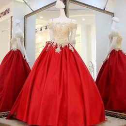 Wholesale Sexy White Exquisite Top - Exquisite Real Off Shoulder Prom Dresses 2017 A Line Champagne Appliques Top Red Satin Skirt Long Formal Evening Party Dresses with Sash