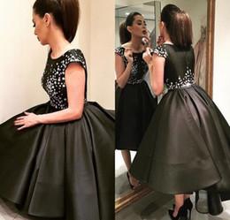 2019 vestido negro bajo delantero Trajes de fiesta Estilo árabe Elegante Alto Bajo Vestidos de noche 2016 Vestidos de baile negros Frente corto Largo Trasero Vestidos de fiesta de baile Dubai vestido negro bajo delantero baratos