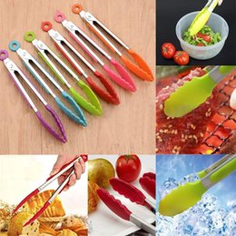 Wholesale Bbq Stainless Kitchens - Silicone Cook Salad Serving BBQ Ice Tongs Stainless Steel Handle Kitchen Tools