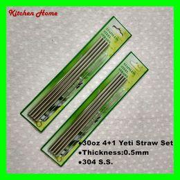 Wholesale Stainless Straw Brush - 20oz 30oz 4+1 Straight Drinking Straw and Brush Set For Yeti Mugs Yeti Tumbler Stainless Steel Straws Bar Bent Curved Drinking Straws
