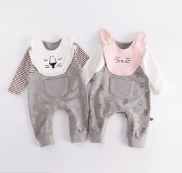 Wholesale Wholesale Fake Clothing - 2 colors INS Baby kids fall long sleeve o-neck cartoon cat lion print romper+ bibs 100% cotton kids boy clothing outwear fake 2 pcs romper