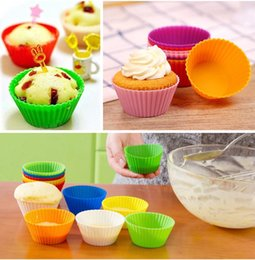 Wholesale Cup Cake Trays - Bakeware Round shape Silicone Muffin Cup Cake Mould Mold Tray Baking Cup Liner Baking Molds wen4542