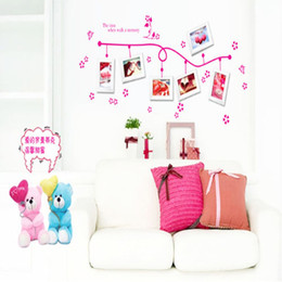 Wholesale Tattoos For Wall - Hot Stickers Wall Photo Frame Home Decoration Bedroom Wall Tattoos Animals Art Cartoon Mural Living Vine Flower 2017