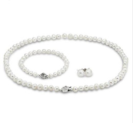 Wholesale Genuine Cultured Pearls - Wholesale-SNH 2015 real cultured freshwater 7-8mm pearl jewelry sets genuine Cultured necklace bracelet and earring set