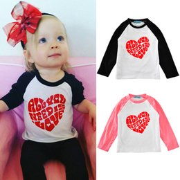 Wholesale Novelty Xmas - 2016 Autumn Kids Toddler Baby Boy Girl Xmas Family Long Sleeve T-shirt Tops Clothes Red Heart cotton t shirt