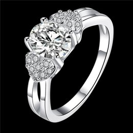 Wholesale Double Diamond Rings - Women's love Full Diamond fashion Double Heart and Stone 925 silver Ring STPR008-D brand new gemstone sterling silver finger rings