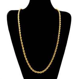 Wholesale Gold Twist Chain Men - 6.5mm Thick 80cm Long Rope Twisted Chain 14K Gold Silver Plated Hip hop Twisted Heavy Necklace For men women
