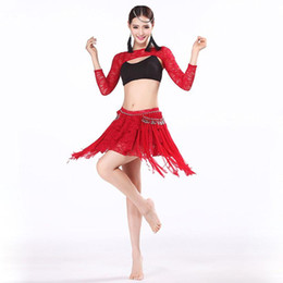 Wholesale Belly Dance Arm Sleeves - Sexy Lace Ladies Dance Wear 3-piece Set Cheerleaders Clothes Top, Skirt, Arm Sleeve Tassel Skirt Belly Dance Oriental Costumes
