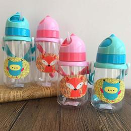 Wholesale Straw Owls - Wholesale- 2017 Cartoon Fox Owl Bottle New Kids Drinking Water Bottles BPA Free Cartoon Plastic Straw Bottle