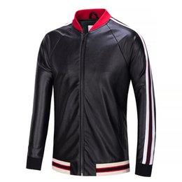 Wholesale Brand Men Leather Coat - autumn fashion designer luxury g Brand tag jackets for men red green striped patchwork sleeve letter style HOLLYWOOD leather jacket coat