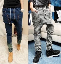 Wholesale Men S Drop Crotch Pants - Wholesale-2016 male HIPHOP Low Drop crotch jogger FOR men denim Jeans hip hop dance baggy trousers pantalon Homme harem pants