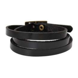 "Wholesale Watch Charm Bracelet European - Dorabeads Leather Wristbands Watch Bands Buckle 5 Holes Black about 60cm(24 3 8""),1Pc Cheap wristbands id High Quality watch"