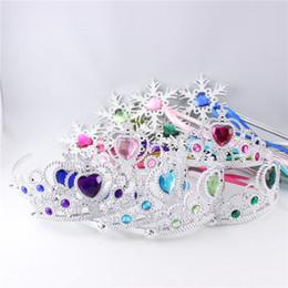 Feenhafte stäbe online-Schneeflocke Ribbon Stäbe Crown Sets Kinder Kunststoff Magie Fee Aufkleber Stäbe Cosplay Stirnband Party Dekoration XMas Liefert HH-D05