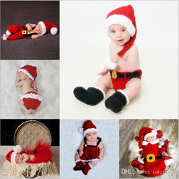 Wholesale Knit Hats Diaper Covers - Baby Christmas Sleeping Bags Newborn Handmade Wraps Toddler Knitted Swaddling Blankets Kids Xmas Hat Diaper Covers Photography Clothes B2941