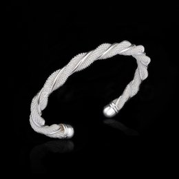 Pulsera de malla de alambre trenzado brazalete abierto brazalete de plata diseñador de moda joyería mujeres regalo de moda 160141 desde fabricantes