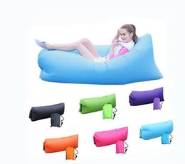 Wholesale Chairs Lights - Lamzac Hangout Light Weight Fast Inflatable Sleeping Bag Lazy Lounge Chair Bag Inflatable Comfortable Seat Sofa Air Sofa sleep Bag