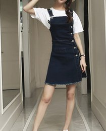 Wholesale Women Breast Strap - 2016 Denim Summer Dress Slim Casual Dresses Single-Breasted High Waist Plus size Women Dress S-XXL