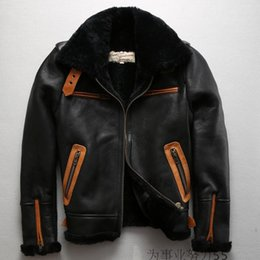 Wholesale B3 Leather Jacket - B3 top leather jackets AVIREXFLY leather jackets Double-faced Fur jackets Sheepskin flight suit 100% genuine leather flying jackets
