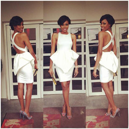 Wholesale Dress Made China Peplum - New Arrival White Cocktail Dresses For Women 2016 Sexy Short Party Prom Gowns With Peplum Criss Cross Back Custom Made China EN3255