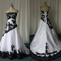 Wholesale Princess Castle New - 2017 Black And White Wedding Dresses Strapless Taffeta Appliques Lace Back Lace Up A-line Bridal Gowns New Arrivals