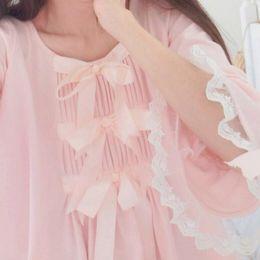 Wholesale Sakura Dress - Wholesale- Japnaese Girl Kawaii Girls Lolita Silk Cotton Sakura Pink bowtie sleepwear Sleep Dress Gown Vintage Princess Bows Cute AW317
