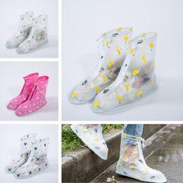 Wholesale Waterproof Slip Shoe Covers - Waterproof PVC Reusable Rain Shoe Covers Anti-Slip Printed RainShoe Zipper Rain Boot Overshoes Waterproof Shoes Cover IC705