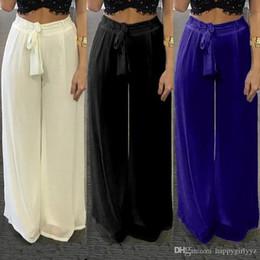 Argentina Moda gasa cintura alta mujer pantalones de pierna ancha más el tamaño de gran tamaño primavera otoño verano suelto casual cinturón cordón Rectos pantalones c Suministro