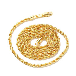 """Wholesale Gold Rope China - 18k real Yellow Gold Men's Women's Necklace 24""""Rope Chain GF Charming Jewelry NO diamond"""