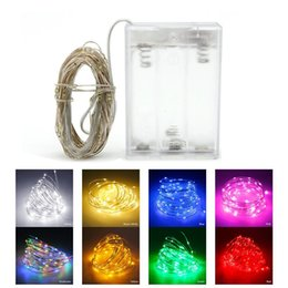 Wholesale Wedding Cards Wire - Christmas 10M 100 led battery operated led string light LED copper wire fairy lights for Holiday Wedding Party christmas lights drops