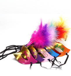 Wholesale Sexy Mask For Carnival - hot sale 6 colors sexy Masquerade Feather Mask Supper Mini Mask Venetian party decoration Halloween Party Carnival Mardi Gras Prop mix color