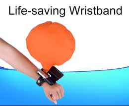 Wholesale Children Pool Safety - Wholesale- Inflatable Life-saving Wristband Life Buoy Self-help Lightweight Airbag Portable Children Adult Beach Pool Water Safety Products