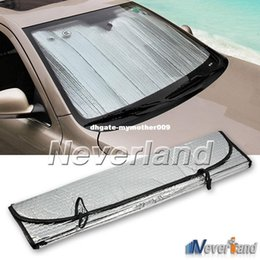 Wholesale Sun Car Window - Universal Reflective Car Aluminum foil Windscreen Sunshade Front Window Sun Shade Windshield Visor Cover UV Protect D10