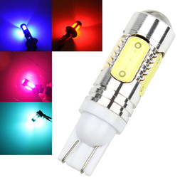 Wholesale High Power Led Blue Light - 10X Pink Ice Blue Red Amber Yellow White High Power 5 COB T10 W5W 7.5W LED Projector Backup Reverse LED Lights Bulb Lamp