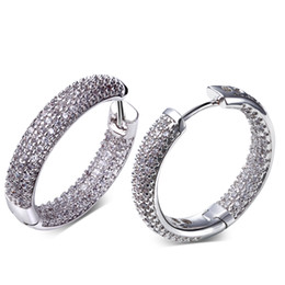 Wholesale Plant Hoops - Charms Fashion Hot Sale Hoop Earrings Made with AAA Cubic Zirconia Platinum Plated Free Allergy Lead Free