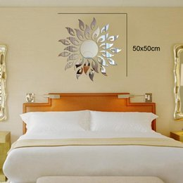 Wholesale crystal bathroom mirror - Solar environmental Acrylic living room wall stickers decorative crystal mirror perspective  new 2016 European and American fashion
