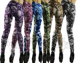 Wholesale Punk Gothic Leggings - New Gothic Punk Rock Leggings Personality Skull Pants Printing Womens Leggings Slim Pantyhose Suede Stretch Pants FG108