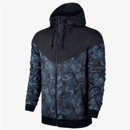 Wholesale Hoodie Mens Logo - Plus Size Men Jackets Coat Autumn Sweatshirt Hoodie Camouflage With Logo Windproof Long Sleeve Designer Hoodies Zipper Mens Clothing Hooded
