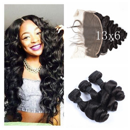 Wholesale Natural Wave Cambodian - 13x6 Ear To Ear Lace Frontal Closure With 3 Bundles Virgin Peruvian Loose Wave Human Hair Lace Frontals With Baby Hair G-EASY