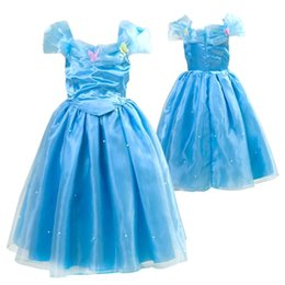 Wholesale Pearl Suspenders - girls Cinderella dress for children Cinderella party costumes kids fantasy dress baby butterfly pearl dress free shipping in stock