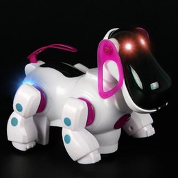 Wholesale Big Dog Lead - Lovely Robotic Dog Intelligent Toy Cute Electric Walking Music Sound Dog Toy with Flashing LED Light Fun Educational Toy CCA7525 50pcs