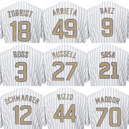 Wholesale Cool Men S - 2017 Men's Chicago Jersey 12 Kyle Schwarber 18 Ben Zobrist 27 Addison Russell Champions Gold Baseball Cool Base Jerseys