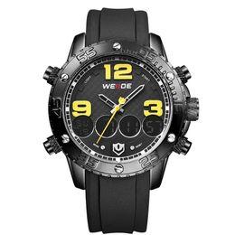 Wholesale Watch Dispaly - WEIDE 2015 New Men Watch Luxury Brand Watch Analog Digital Dispaly PU and Steel