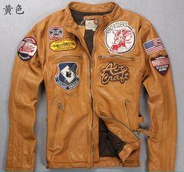 Wholesale Men Sheepskin Jacket Xl - AVIREX first layer of calfskin leather slim yellow jacket motorcycle clothing kinds marked dermal jacket