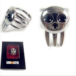 Wholesale Skull Rings Box - 1X charms Tone Soul Eater Death The Kid Ring Cosplay Hot Anime manga Metal ring for Soul Eater Ring skull sign with gift box 2017 wholesale