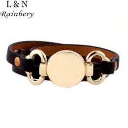 Wholesale Leather Monogram - Wholesale-Rainbery 2016 New Style Monogram Leather Cuff Bracelet Hottest Sale Trendy With Blank Disk 3 Layer Wrap Leather Bracelet