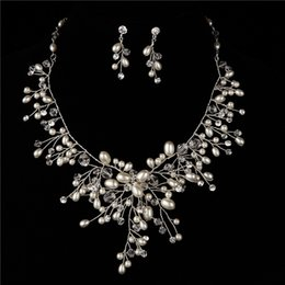 Wholesale African Pearl - African Beads Jewelry Set 2016 High Quality Shiny Luxury Diamond Rhinestones With Pearls Wedding Party Bride Accessories Necklace