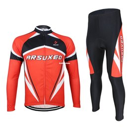 Wholesale Cycling Jersey White Pants Long - ARSUXEO Winter Thermal Fleece Windproof Waterproof Long Sleeve Cycling Jersey Clothing Wear Reflective Cycling Sports Jacket + Pants M-3XL