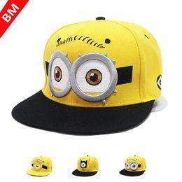 Wholesale Minion Hats Cartoon - 2016 Baseball Cap Children Gorras Yellow Cartoon Casquette God Steal Dads Film Minions Canvas Flat Snapback Hip-hop Hat